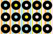 Abstract Wallpaper - Vintage Vinyl Records on Striped Background