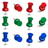 Set of Office Pins in Red Green and Blue Colors