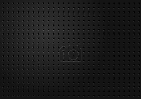 Illustration pour Contexte abstrait - Texture perforée métallique abstraite noire - image libre de droit