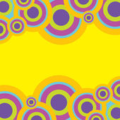 Retro Abstract Background - Circles in Pastel Colors on Yellow Background