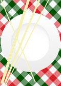 Menu Card Design - Red and Green Gingham Texture With Plate and Pasta