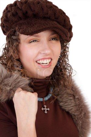 F beautiful woman in winter hat