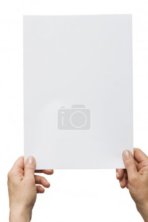 Photo for Hands holding a white sheet of paper - Royalty Free Image