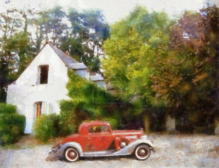 Vintage cars oil painting