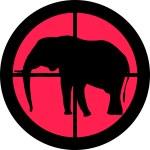 Elephant in the crosshair of a gun's telescope. Ca...