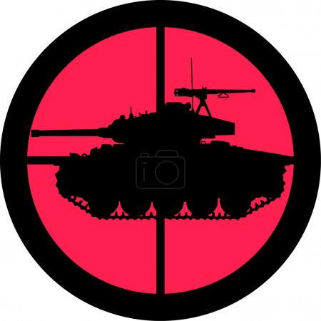 Tank in the crosshair of a gun's telescope. Can be...