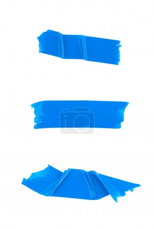 Strips of blue electrical tape. Isolated on white ...