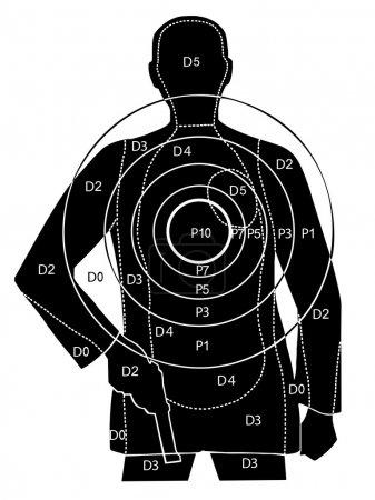 Illustration pour La cible pour tirer sur la silhouette d'un homme armé - image libre de droit