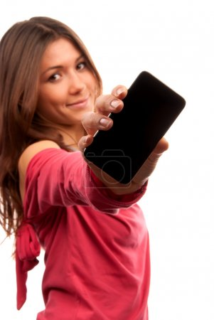 Photo for Young Pretty Woman Showing display of her new touch mobile cell phone. Focus on the hand and phone. - Royalty Free Image