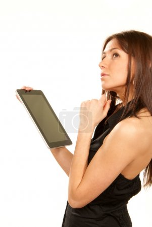 Woman holding new electronic tablet touch pad computer