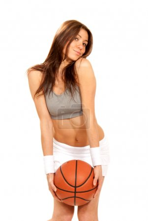 Basketball sexy young brunette cheerleader woman