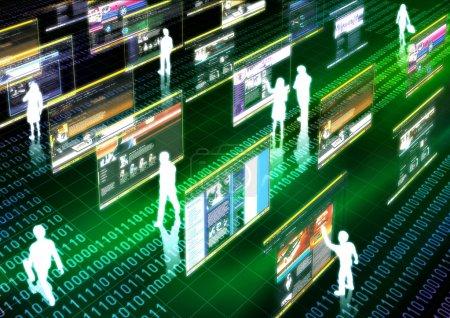 Photo pour Image conceptuelle de l'activité virtuelle dans le monde virtuel de l'internet - image libre de droit