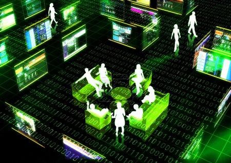 Photo pour Un concept de réunion à l'intérieur du monde virtuel d'internet - image libre de droit