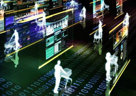 Photo pour Illustration graphique d'ordinateur sur les achats sur internet dans le monde virtuel. - image libre de droit