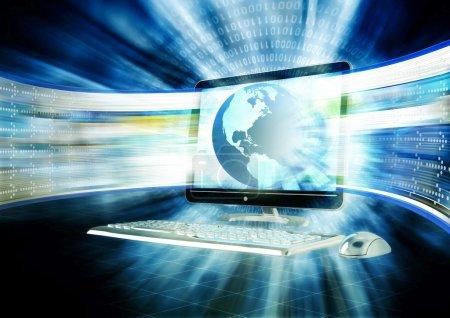 Photo pour Concept de l'internet rapide, navigation, avec un flahing d'écran lcd, une série de site Web rapidement. - image libre de droit