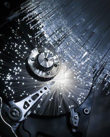 Computer hard disc, illuminated optical fiber....