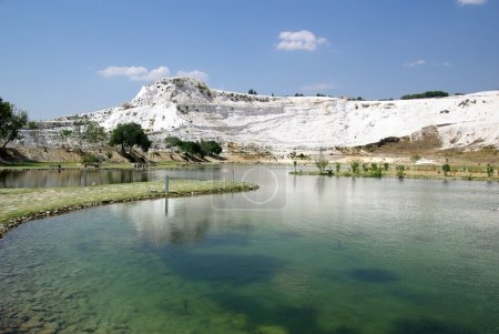 Lake in Pamukkale. Ancient city Hierapolis, Turkey.