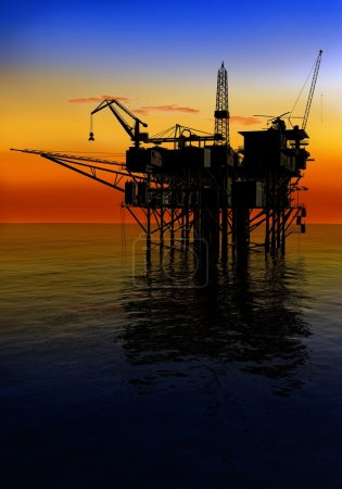 Photo for Oil Rig at late evening - Royalty Free Image