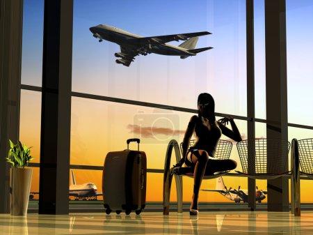 Photo pour Silhouettes de la à l'aéroport - image libre de droit