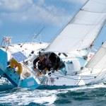 Skipper sur voilier de regate pendant une competition