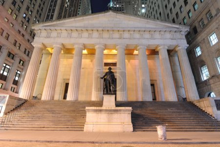 Federal Hall at night, the first capitol of the United States of America.