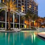 A resort swimming pool at twilight...