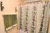 cortina de ducha y toalla