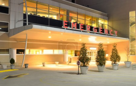 Photo for Emergency Room entrance at a hospital at night. - Royalty Free Image