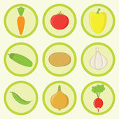 Vegetables Icon Set Most Common Fresh Ingredients