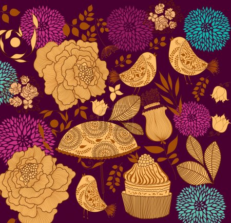 Illustration for Background with flowers - Royalty Free Image