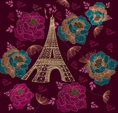 Illustration for Vector card with eiffel tour - Royalty Free Image