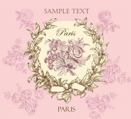 Pastel gentle rose vector label with wreath