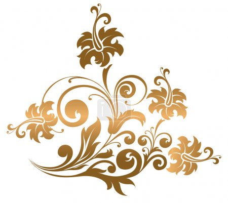 Illustration for Beautiful gold ornament with flowers and curls - Royalty Free Image