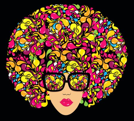 Illustration for Bright multi-coloured fashion illustration. Print for T-shirt - Royalty Free Image