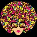 Bright multi-coloured fashion illustration. Print ...
