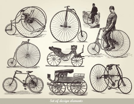 Illustration for Vector set of old bicycles - Royalty Free Image