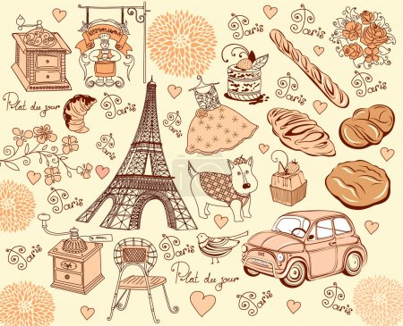 Collection symbols of Paris. Hand drawing.