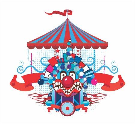 composition de cirque avec le clown malicieux