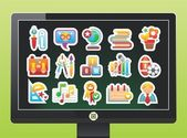 Screen with a beautiful school icons on a black background