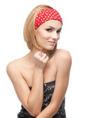 Young woman with red headband