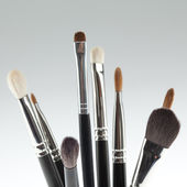 A detail of a make-up brush set