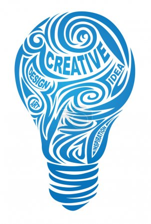 Illustration for Creative lamp - vectop illustration with type - Royalty Free Image