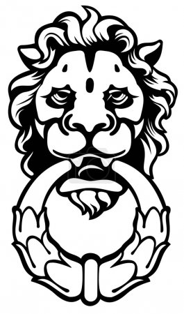 Lion head as door-handle. Vector illustration...