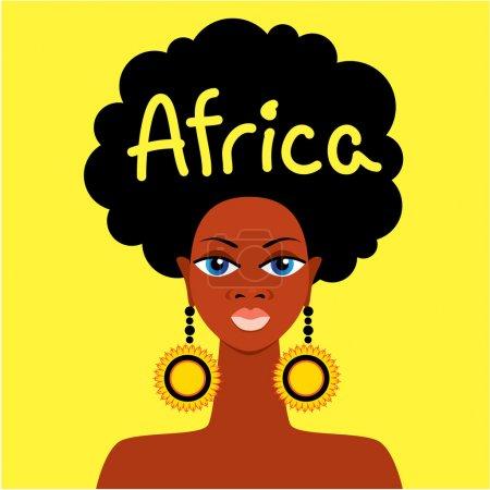 Illustration pour Mère africaine visage sur fond jaune - image libre de droit