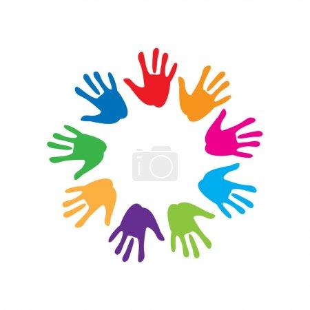 Illustration pour Le signe de la paix et de l'amitié - paume colorée - image libre de droit