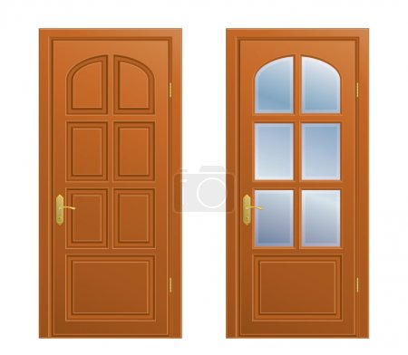 Collection of vector closed doors on white backgro...