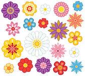 Set of isolated cartoon flowers