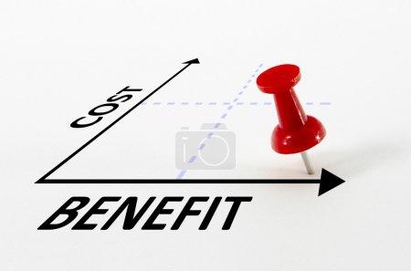 Photo pour Concept d'analyse coûts-avantages sur un graphique avec un marqueur de cible de goupille de pouce - image libre de droit