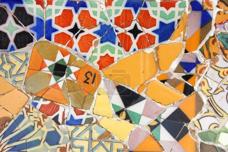 Colorful mosaic in Antoni Gaudi's Park Guell - Bar...