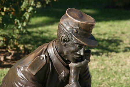 Sad soldier statue